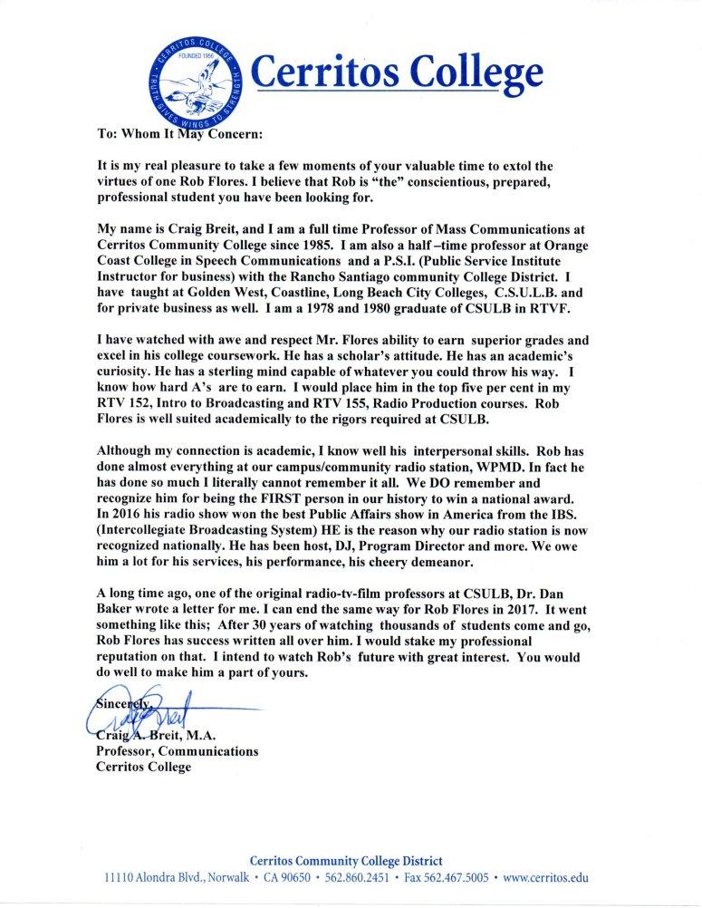 Breit recommendation letter